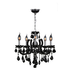 Worldwide Lighting - Catherine Collection 5 Light Chrome Finish with Black Crystal Chandelier - DISCO - This stunning 5-light Crystal Chandelier only uses the best quality material and workmanship ensuring a beautiful heirloom quality piece. Featuring a radiant chrome finish and finely cut premium grade black colored crystals with a lead content of 30%, this elegant chandelier will give any room sparkle and glamour. Worldwide Lighting Corporation is a premier designer manufacturer and direct importer of fine quality chandeliers, surface mounts, and sconces for your home at a reasonable price. You will find unmatched quality and artistry in every luminaire we manufacture.