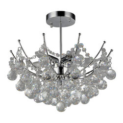 Warehouse of Tiffany - Shine Crystal Chandelier - Lend a touch of elegance to your home with this charming crystal chandelier. This dynamic lighting element features a polished chrome finish and generous rows of round cascading crystals to catch the light for a sophisticated accent to your living space. Setting: IndoorsMaterials: CrystalFixture finish: ChromeNumber of lights: Five (5)Requires: 60-watt bulb (not included)Dimensions: 18 inches high x 18 inches wide x 7 inches lengthThis fixture does need to be hard wired. Professional installation is recommended. Note: This disclaimer does not apply to floor and table lampsCSA Listed, ETL Listed, UL Listed