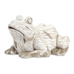 iMax - Singleton Garden Frog - This happy, hoppy friend is perfect for adding character inside or out! with the look of aged, carved, white washed wood, this amphibious character works great as a door stop, a garden decoration, or a decorative room accent in an enclosed patio.