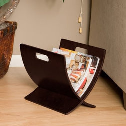 Zurich Magazine Rack - The Zurich Magazine Rack will add style and elegance to your room. With its deep walnut finish this magazine rack has a contemporary X-shaped design that will complement any modern decor. The unique shape offers ample storage for multiple magazines while the built-in handles on top allow for easy portability from room to room. At 12 inches tall the rack can be placed under a table or near a sofa.