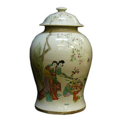 Golden Lotus - Chinese Porcelain White Base Lady Figures Jar - This is a porcelain jar with lid in White base and light color graphic of ladies and trees. There is a calligraphy of Chinese poem at the back.