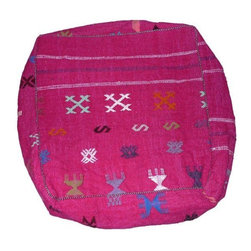 Pre-owned Bright Pink Moroccan Pouf - An amazing hand-woven pouf by artisans in Marrakech. The fuschia cushion has distinct patterns on the top and all sides. The bottom of the cushion has an orange horizontal pattern. The fabric quality is top notch, and this pouf would be perfect for floor lounging or even for a special pet.    The pouf zips open to accommodate the cushion, but will be sold without the stuffing for ease of shipping and storage.