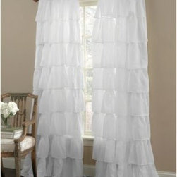 "Lorraine Home Fashions - Gypsy Rod Pocket Window Curtain Panels in White - This beautiful window curtain panel updates the classic bouffant look with 10""-long bands of gently crinkled, sheer voile ruffled for extra fullness. The ruffled bands are layered from top to bottom, creating a series of cascading, flowing bands."