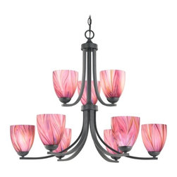 Design Classics Lighting - Modern Chandelier with Pink Art Glass in Matte Black Finish - 586-07 GL1004MB - Contemporary / modern matte black 9-light chandelier. Takes (9) 100-watt incandescent A19 bulb(s). Bulb(s) sold separately. UL listed. Dry location rated.