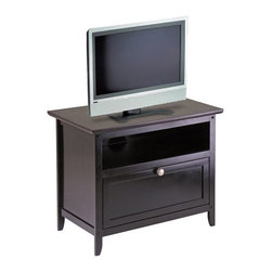 Winsome Trading, INC. - Winsome Wood 92125 Zara TV Stand - From Winsome Woods new Zara line of TV cabinets, a 25 wood stand with one open storage shelf and one storage shelf with pull down door. Contemporary styling is accented with brushed aluminum knob and Espresso finish.