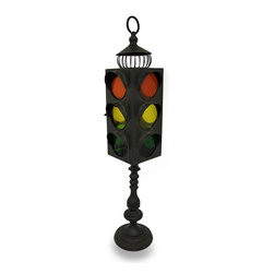 Zeckos - Vintage Style Traffic Light Metal Candle Lantern - Not just any candlelight lantern, this fun and unique 40 inch (102 cm) tall traffic light candle holder is the perfect accessory for contemporary to vintage themed homes featuring a rustic, weathered finish and room enough for three tea light or votive candles up to 2.5 inches diameter (not included). Made of metal for durability, glass inserts create the street light effect visible from all 4 sides, and the access door secures with a metal tab. The decorative base gives it an antique vibe that looks great in any room of your home, on the covered patio or porch, or in your garden oasis, and is sure to stop your guests in their tracks at 40 inches tall, 10 inches (25 cm) wide and 10 inches (25 cm) long