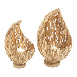 Beautiful Patterned Driftwood Glass Candle Holder, Set of 2 - Description: