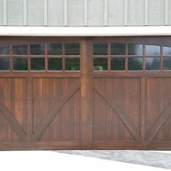 Marc B Home - 16x8 Custom wood carriage house door with seedy antique glass
