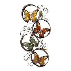 IMAX CORPORATION - Papillion Wall Decor - Metal wall decor detailing multiple encircled, colorful butterflies. Find home furnishings, decor, and accessories from Posh Urban Furnishings. Beautiful, stylish furniture and decor that will brighten your home instantly. Shop modern, traditional, vintage, and world designs.