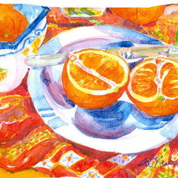Caroline's Treasures - Florida Oranges Sliced For Breakfast  Fabric Standard Pillowcase Moisture Wickin - Standard White on back with artwork on the front of the pillowcase, 20.5 in w x 30 in. Nice jersy knit Moisture wicking material that wicks the moisture away from the head like a sports fabric (similar to Nike or Under Armour), breathable performance fabric makes for a nice sleeping experience and shows quality.  Wash cold and dry medium.  Fabric even gets softer as you wash it.  No ironing required.