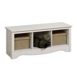 """Prepac - White Cubbie Bench - Versatile and practical, the Cubbie Bench is at home in any room. Store favorite shoes in the three compartments under the sturdy bench and keep it in your front hallway. It's equally suitable for holding your baskets, books and blankets in other areas of the home, such as at the foot of a bed. With a simple style that blends with any decor, this is one bench that won't leave you on the sidelines.; Finished in durable fresh white laminate; Constructed from CARB-compliant, laminated composite woods with a sturdy MDF backer; Ships Ready to Assemble, includes an instruction booklet for easy assembly and has a 5-year manufacturer's limited warranty on parts; Proudly manufactured in North America; Total Weight Capacity: 200 lbs; Dimensions: Assembled Dimensions: 48""""W x 20""""H x 15.75""""D; Internal Dimensions: 13.75""""W x 12.5""""H x 14""""D (each cubbie)"""