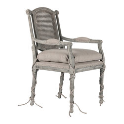 Kathy Kuo Home - Ferrel Antique Gray Shabby French Ballet Ties Dining Arm Chair - Open back with dramatic craved details, this beautiful chair is accented with a loose cushion with ballet ties.