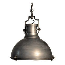 Metal Marine Fixture Pendant - The outline of the Metal Marine Fixture Pendant is fairly simple, but the detailed hardware of the nickel-hued ceiling light's build suggests a lighting tradition with surprising en-vogue minutia of construction made handsomely visible. Patina bolts and arched hanging hardware contrast with the round dish of the pendant light's body, a large transitional shape designed to elevate both your light levels and your chic industrial style.