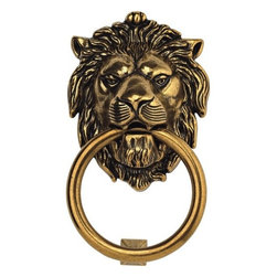 "Bosetti-Marella - Brass Lion Door Knocker in Light Antique Brass - Features: -Lion door knocker. -Light Antique Brass finish. -Mounting hardware included. -Made in Italy. -Manufacturer provides 1 year warranty. -Overall dimensions: 7.48"" H x 4.29"" W x 2"" D."
