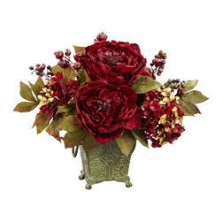 Peony and Hydrangea Silk Flower Arrangement - The perfect blend of compact size and beautiful holiday color, this red / gold Peony Hydrangea combination will add to the festivities, whether it's displayed in your home or office. The big red blooms, smaller petals, gold-hued leaves, and perky berries make this an arrangement that will look great on any holiday table. Makes a great gift was well. Height= 14 in x Width= 17 in x Depth= 14 in