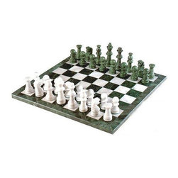 Cambor - Marble Chess Set in Green and White - This set is crafted entirely out of Marble; the pieces are hand-polished, with a rounded, growing look, and they sit on beautifully crafted Green and White table.  This design is most often associated with the oriental version of the game, and will add some of the world to your home. * Made of Marble. Green and White color. Hand polished Marble chessmen. Complete with matching Inlaid Marble board. King: 4.5 in.. Board: 18 in.square. 18 in. L x 18 in. W x 3 in. H (22 lbs.)
