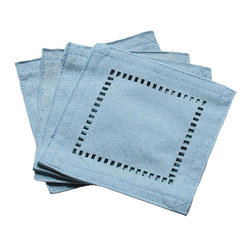 Xia Home Fashions - Melrose Easy Care Cutwork Hemstitch Coaster, Teal, 6 By 6-Inch, Set Of 4 - Solid color faux hemstitch easy care table linens add simple sophistication with the added bonus of easy care. Mix and match colors to create a unique look of your own!