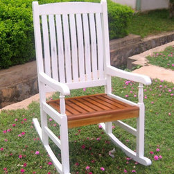 International Caravan - Acacia Hardwood Porch Rocker in White & Oak - In white/oak finish. Made of Acacia hardwood. Weatherproof. Easy rocking motion. Great for porches. 23 in. W x 32 in. L x 44 in. H