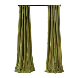 "Exclusive Fabrics & Furnishings, LLC - Fern Faux Silk Taffeta Curtain - 56% Nylon & 44% Polyester. 3"" Pole Pocket with Hook Belt. Lined. Interlined. Imported. Weighted Hem. Dry Clean Only. SOLD PER PANEL."