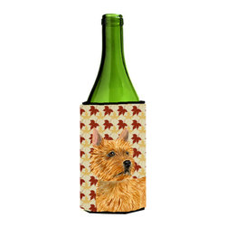 Caroline's Treasures - Norwich Terrier Fall Leaves Portrait Wine Bottle Koozie Hugger - Norwich Terrier Fall Leaves Portrait Wine Bottle Koozie Hugger Fits 750 ml. wine or other beverage bottles. Fits 24 oz. cans or pint bottles. Great collapsible koozie for large cans of beer, Energy Drinks or large Iced Tea beverages. Great to keep track of your beverage and add a bit of flair to a gathering. Wash the hugger in your washing machine. Design will not come off.