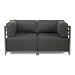 Howard Elliott - Sterling Charcoal Axis 2-piece Sectional - Titanium Frame - A Fashionable Pair! Lounge in style on a Sterling Axis Loveseat. Float the Sterling Axis Loveseat in your room for an intimate seating arrangement. Expand your loveseat with additional Chair, Corner or Ottoman Pieces. This Loveseat features boxed cushions with Velcro attachments to keep the cushions from slipping and looking their best all of the time. Your Sterling Axis 2 pieces Sectional will definitely turn heads with its sophisticated linen-like texture and vibrant color selection. This Sterling Charcoal piece is 100% Polyester finished in a soft burlap texture in a charcoal grey color. 65 in. W x 32.5 in. D x 30 in. H