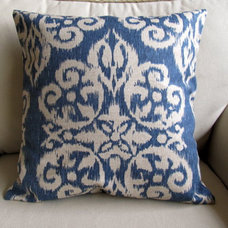 ONE Ikat Lapis Pillow Cover 18 inches by yiayias on Etsy