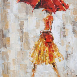 """Vertuu Design - 'Carefree Day' Artwork - Thick brushstrokes and a warm color palette give the """"Carefree Day"""" Artwork its bright, textured look. Featuring a woman holding an umbrella in the rain, this hand-painted acrylic canvas uses yellow and red hues to offset its neutral background. Hang it in an office or bedroom for a chic, Parisian feel."""