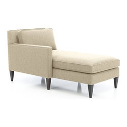 Rochelle Left Arm Sectional Chaise - Soft, subtly textured fabric beautifully tailors Rochelle's timeless mid-century lines. Crisp self-welting outlines Rochelle's slim frame and track arms that open up to plush cushioned seating. Tapered hardwood legs enhance the modern, elegant look.