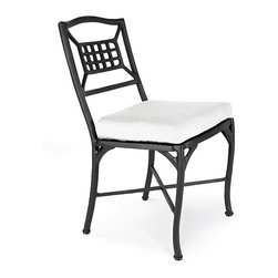 Frontgate - Catalina Aluminum Dining Outdoor Side Chair - Cast aluminum endures four seasons of use. Multi-step powdercoating process adds lasting beauty and protection. Complements mosaic dining tables by KNF. Optional chair cushion increases the level of comfort. The detail-rich Catalina Outdoor Aluminum Dining Chairs are deftly cast for years of enjoyment. This dining chair's distinctively designed back and curving frame complement most alfresco dining collections, including the mosaic dining tables by KNF. . . . .