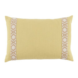 Lacefield Designs - Lemongrass Linen Lumbar Pillow - The Lemongrass Linen Lumbar Pillow offers a luxurious pop of texture to your bedding or favorite chair. Tan on Off White Camden tape lines the sides for added interest.