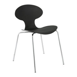 Becky Side Chair (Set Of 4)-Black/Chrm - It's understandable if you're captivated by this stunning side chair's sensuous curves, but don't overlook another dramatic feature. Turn the chair around and take in the striking slatted detail.