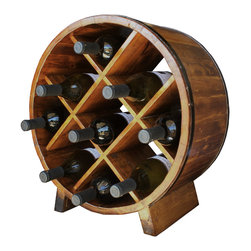 Antique Revival - Natural Beaudry Wine Rack - This round, wooden wine rack with a very distinct design securely holds up to nine bottles of wine. It makes an attractive, useful piece that looks great on display in a kitchen or dining room. The natural wood finish with iron banding maintains a rustic, old-fashioned vibe. Item is newly made.