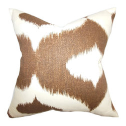 "The Pillow Collection - Leilani Ikat Pillow Brown 18"" x 18"" - Introduce a unique texture into your home with this gorgeous accent pillow. This throw pillow features a traditional ikat design in chocolate brown and white shades. Great for indoor use, this decor pillow is made with a blend of 55% linen and 45% rayon material. Not just for aesthetic purposes, this 18"" pillow brings comfort. Hidden zipper closure for easy cover removal.  Knife edge finish on all four sides.  Reversible pillow with the same fabric on the back side.  Spot cleaning suggested."