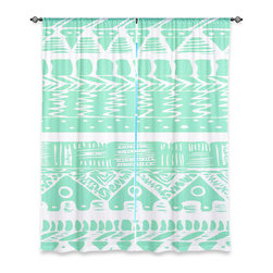 "DiaNoche Designs - Window Curtains Unlined by Organic Saturation - Boho Mint Aztec - DiaNoche Designs works with artists from around the world to print their stunning works to many unique home decor items.  Purchasing window curtains just got easier and better! Create a designer look to any of your living spaces with our decorative and unique ""Unlined Window Curtains."" Perfect for the living room, dining room or bedroom, these artistic curtains are an easy and inexpensive way to add color and style when decorating your home.  The art is printed to a polyester fabric that softly filters outside light and creates a privacy barrier.  Watch the art brighten in the sunlight!  Each package includes two easy-to-hang, 3 inch diameter pole-pocket curtain panels.  The width listed is the total measurement of the two panels.  Curtain rod sold separately. Easy care, machine wash cold, tumble dry low, iron low if needed.  Printed in the USA."