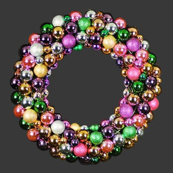 Christmas at Winterland - Christmas at Winterland WL-BWR-18-5M 18 Inch Multicolor Ornament Wreath - Christmas at Winterland WL-BWR-18-5M 18 Inch Multicolor Ornament WreathMark your festivities with this bright and colorful ball ornament wreath. Measuring in at 18 inches and featuring 151 purple, green, pink, gold, and silver balls in both metallic and glitter finishes, this holiday wreath will brighten up any celebration.Christmas at Winterland WL-BWR-18-5M Features: