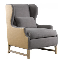 Amelie Wing Arm Chair-Blue mix - The classic 19th-century French wing seating served as inspiration for our Amelie Wing Arm Chair. Elegant Belgium style hemp and 100% linen chair is amazingly crafted, is a really comfortable sitting spot as well as an elegant accent furniture piece.