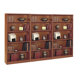 Bush - Bush Series C 5 Shelf Wall Bookcase in Auburn Maple - Bush - Bookcases - WC48514PKG - Bush Series C Open Double 5 Shelf Wood Bookcase in Auburn Maple