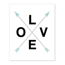 ColorBee Creative Design - Love-Crossed Arrows Art Print, Spa Blue, 20x30 Inches - Stylish and affordable artwork adds a graphic look to your space. This print features LOVE text and crossed arrows (representing an X for kisses and cupid's arrows).