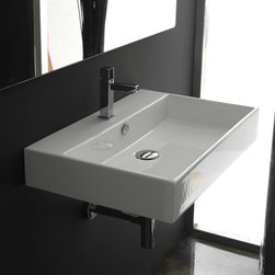 WS Bath Collections - Unlimited 70 Wall-mount or Countertop Bathroo - Faucet Hole: With Faucet HoleWall-mount or Countertop Installation. With Overflow. Made to Highest Industry Standards. Made in Italy. Product Material: White Ceramic. Finish/Color: White. Dimensions: 16.7 in. W x 27.6 in. L x 4.5 in. H