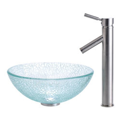"Kraus - Kraus C-GV-500-14-12mm-1002CH Broken Glass 14"" Vessel Sink and Sheven Faucet - Add a touch of elegance to your bathroom with a glass sink combo from Kraus"