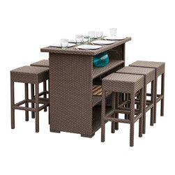 Great Deal Furniture - Rudolfo Outdoor 7pc Bar Set - The Rudolfo bar set will bring style and convenience to your outdoor space. Made from PE wicker material, this set includes six (6) backless stools and one (1) bar table. The table features a convenient storage shelf for your entertaining needs. The dark brown finish is neutral to match any outdoor furniture and will hold up in any weather condition with little maintenance. Whether in your backyard, patio bar, or deck, you will enjoy this bar set for years to come.