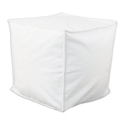 """Chooty - Chooty Classic Velvet White Collection 17"""" Square Seamed Beads Hassock - Insert EPS Styrofoam Beads, Fabric Content 100 Polyester, Color White, Ottoman 1"""