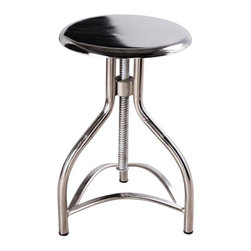 """Rohan Art Exports - Twist Stool - Mirror Nickel - Modern comfort mixed with the simplicity of early 20th century cafe-style seating. A swiveling, reclaimed steel framework, available in three bold finishes, makes the Twist Stool equal parts fun and stylish.  Due to the hand-built construction process, slight variations that enhance the piece's character should be expected. Seat height adjusts from 21"""" to 29""""."""