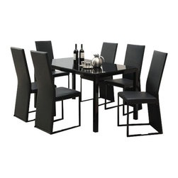 "Acme - 7-Piece Riggan V Collection Slim Back Style Black Leather-Like Dinette Set - 7-Piece Riggan V collection slim back style black leather like upholstered and Black glass top dinette set . This set features a Black glass top table with metal base and glass top , 6 - side chairs with a Black leather like upholstery. Table measures 32"" x 55"" . Chairs measure 39"" H at the back. Some assembly required."