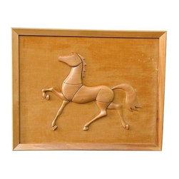 Solid Wood Horse on Fabric - An attractive piece of art that will be sure to add some texture to your space! This solid wood horse is mounted on fabric in a matching wood frame. The piece is not signed.