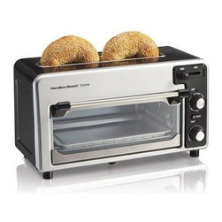 Hamilton Beach - Hamilton Beach Two Slice Toaster Black Silver - 2-Slice - Black/Silver - This toastation toaster and oven combo lets you quickly toast bake and heat your favorite foods. It is a fully functioning two-slice toaster with extra wide top toasting slot that accommodates bagels and wide breads toast shade selector cancel and auto-shutoff. As an oven it features a spacious interior that accommodates baked potatoes and tall and open-face sandwiches. It is perfect for appetizers pizza chicken nuggets French fries and more. You can even bake muffins and cookies. Removable crumb tray.