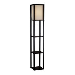 Adesso Lighting 3138-01 Wright Etagere Floor Lamp - For extra display space storage or lighting in your living room the Wright Floor Lamp Etagere will accommodate your needs. The bottom and two additional shelves make a total of three shelves for convenient storage for magazines books or coasters beside a couch or chair. Place photographs or a vase with dried flowers on the shelves for added artistic appeal. Constructed from walnut wood this tall etagere from Adesso features a rich black walnut finish. The lamp accommodates a 150-watt bulb and operates with a metal pull string. Its shade is of a natural color which can blend easily with multiple color palettes in your home decor. Enlighten your living room with this multi-functional floor lamp. About Adesso:Adesso was established in 1994 based on the belief that there was an under-served niche among consumers who sought high-end contemporary home products at moderate prices. Since then Adesso has not only revolutionized the home industry with its products and service but also gained substantial recognition for its well-designed and well-priced lamps and RTA (Ready-To-Assemble) furniture quickly establishing itself as an industry leader. Its collections represent a variety of home accents and furniture including lighting kids' lamps clocks tables chairs coat racks and screens. With these and all its innovative products Adesso continues to shape the future of home design.