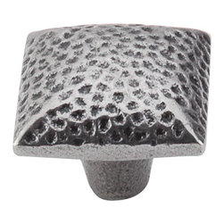 """Top Knobs - Square Iron Knob Dimpled 1 3/8"""" - Cast Iron - Width - 1 3/8"""", Projection - 1 1/8"""", Base Diameter - 7/16"""""""