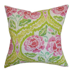 The Pillow Collection - Feidra Orange 18 x 18 Floral Throw Pillow - - Pillows have hidden zippers for easy removal and cleaning  - Reversible pillow with same fabric on both sides  - Comes standard with a 5/95 feather blend pillow insert  - All four sides have a clean knife-edge finish  - Pillow insert is 19 x 19 to ensure a tight and generous fit  - Cover and insert made in the USA  - Spot clean and Dry cleaning recommended  - Fill Material: 5/95 down feather blend The Pillow Collection - P18-WAV-NADIA-CITRUS-C100