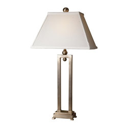 """Uttermost - Contemporary Uttermost Conrad Metal Table Lamp - From Uttermost this table lamp is simple yet classy. Features a brushed silver metal body on footed base with an ivory fabric shade on top. Takes one 100 watt bulb (not included). 29"""" high. Rectangular shade is 10"""" x 15"""" across the bottom.  Brushed silver metal base.  From the Uttermost table lamp collection.  Takes one 100 watt bulb (not included).   29"""" high.   Rectangular shade is 10"""" x 15"""" across the bottom."""